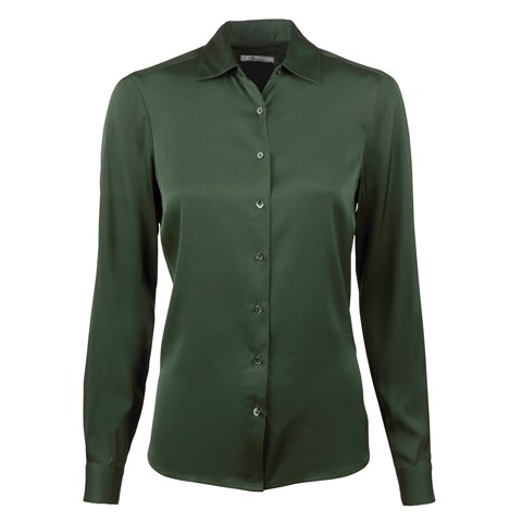 Green Feminine Silk Shirt