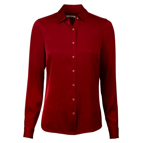 Red Feminine Silk Shirt