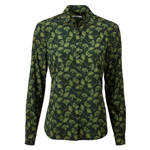 Green Patterned Feminine Silk Shirt