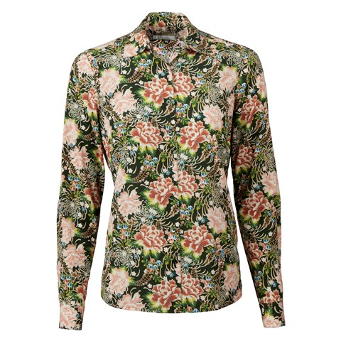 Green Floral Feminine Silk Shirt