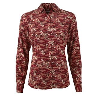 Red Koi Patterned Feminine Silk Shirt