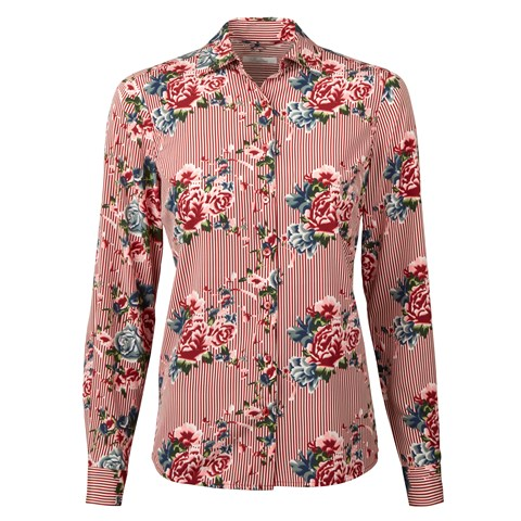 Red Striped & Floral Feminine Silk Shirt
