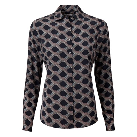 Petrol Patterned Feminine Silk Shirt