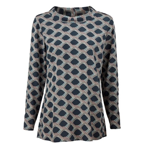 Patterned Feminine Blouse With Boat Neck Collar