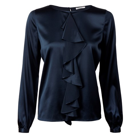 Navy Silk Blouse With Frill