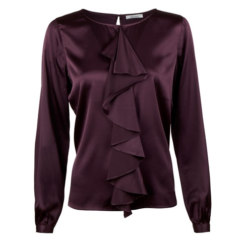 Plum Silk Blouse With Frill