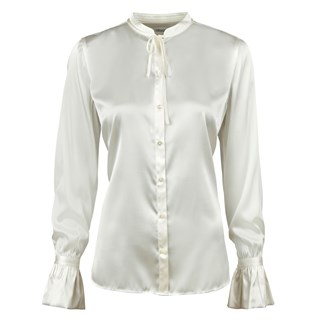 Off-White Feminine Silk Blouse With Bow