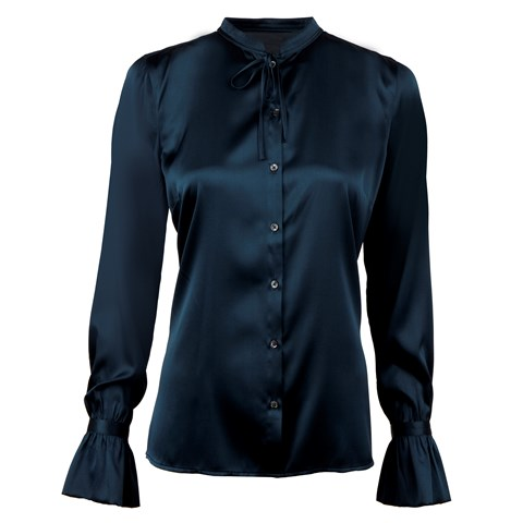 Navy Feminine Silk Blouse With Bow