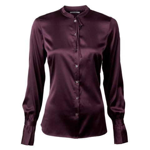 Plum Feminine Silk Blouse With Bow