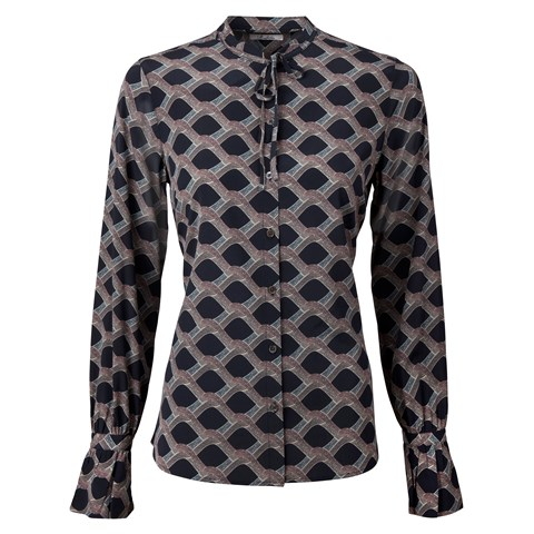 Patterned Feminine Silk Blouse With Bow