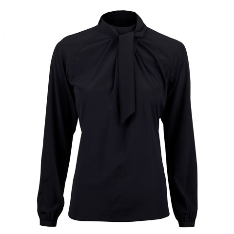 Navy Feminine Silk Blouse With Wrap Collar