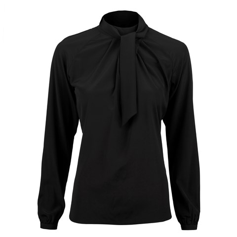 Black Feminine Silk Blouse With Wrap Collar