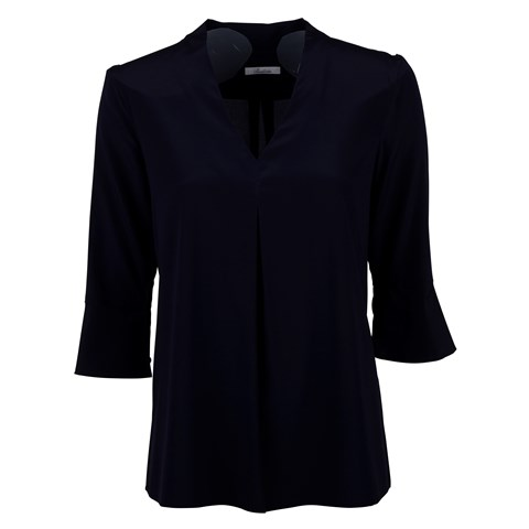 Navy Feminine Front Pleat Blouse