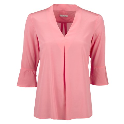 Pink Feminine Front Pleat Blouse
