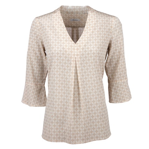 Beige Geometric Front Pleat Blouse