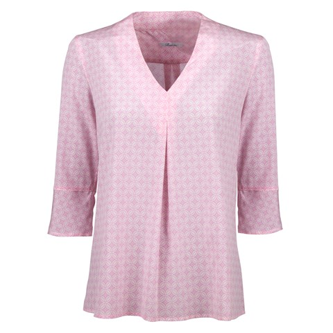 Pink Geometric Front Pleat Blouse