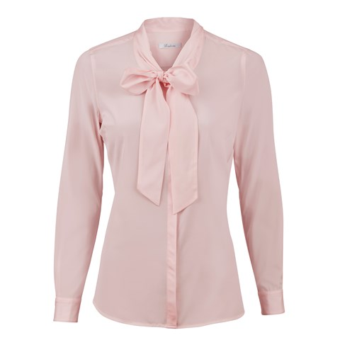 Pink Feminine Silk Blouse With Bow