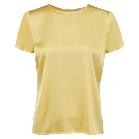 Yellow Feminine Silk Top