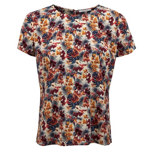 Floral Patterened Feminine Silk Blouse