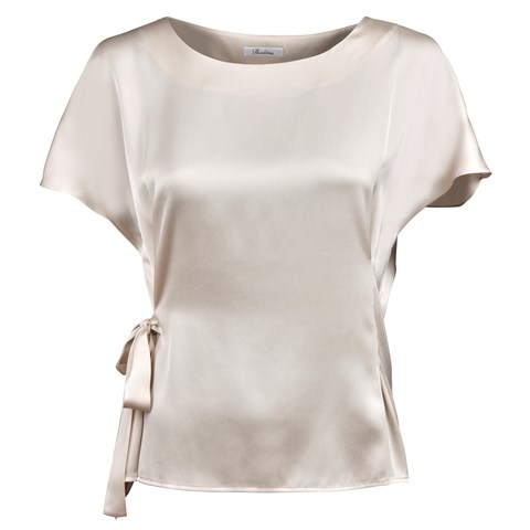 Beige Feminine Silk Blouse With Waist Tie
