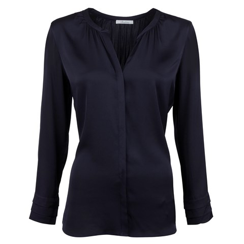 Midnight Blue Feminine Silk Blouse