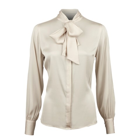 Beige Feminine Silk Blouse With Bow Collar