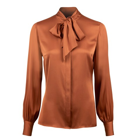 Rust Feminine Silk Blouse With Bow Collar