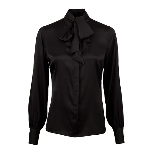 Black Feminine Silk Blouse With Bow Collar