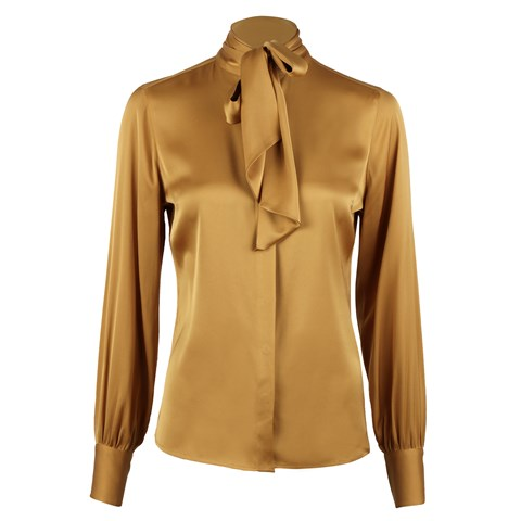 Feminine Silk Blouse With Bow Collar