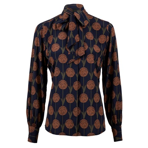Dandellion Silk Blouse W Bow Tie