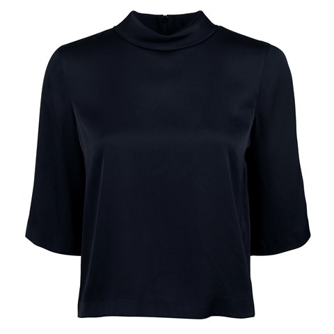Navy Feminine Blouse With High Neck
