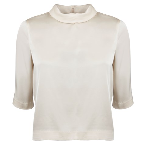 Beige Feminine Blouse With High Neck