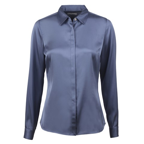 Susan Silk Shirt, Stretch Blue