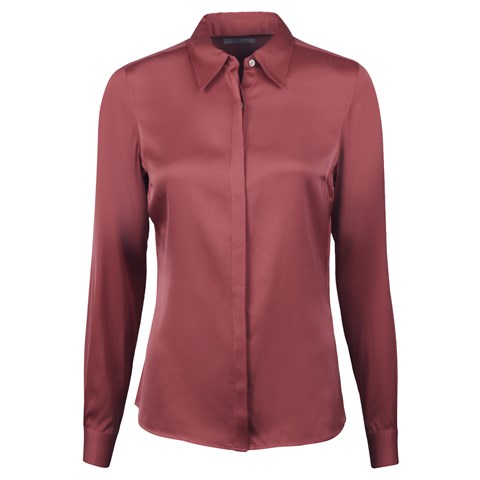 Susan Silk Shirt, Stretch Coral