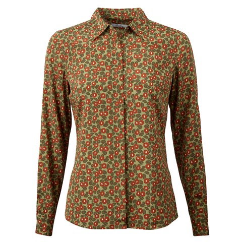 Green Patterned Silk Shirt