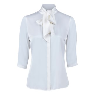 Off-White Silk Blouse With Bow