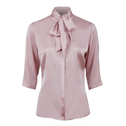 Dusty Pink Silk Blouse With Bow