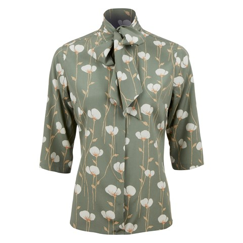 Green Floral Silk Blouse W Bow