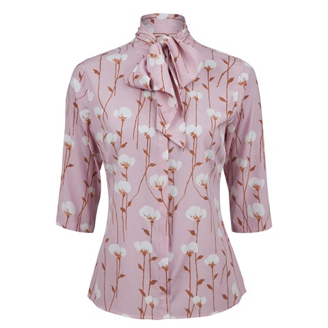 Pink Floral Silk Blouse W Bow