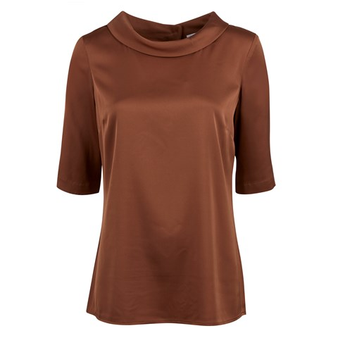Brown Silk Blouse W Boat Neck Collar