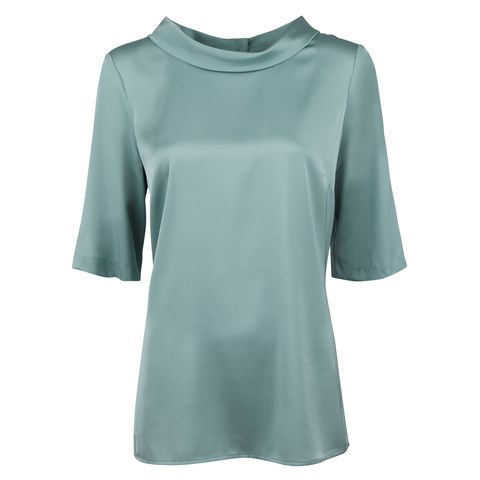 Green Silk Blouse With Boat Neck Collar