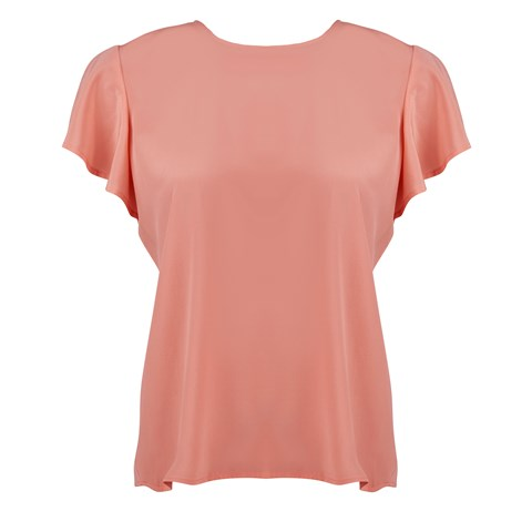 Coral Silk Top With Back Overlap