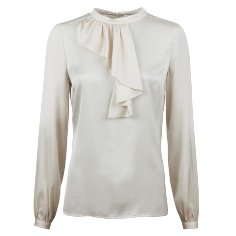 Light Beige Silk Blouse W Neck Frill