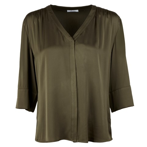 Silk Stretch Blouse Green
