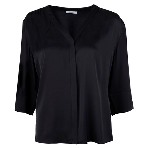 Silk Stretch Blouse Black