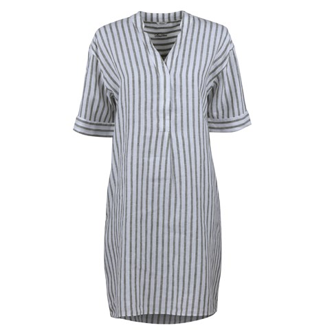 Athena Linen Feminine Tunic Striped Green