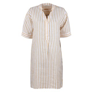 Athena Linen Feminine Tunic Striped Yellow
