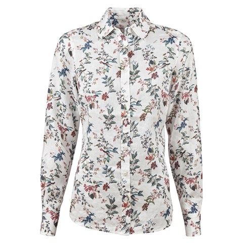 Garden Patterned Feminine Linen Shirt