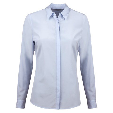 Light Blue Feminine Silk Shirt