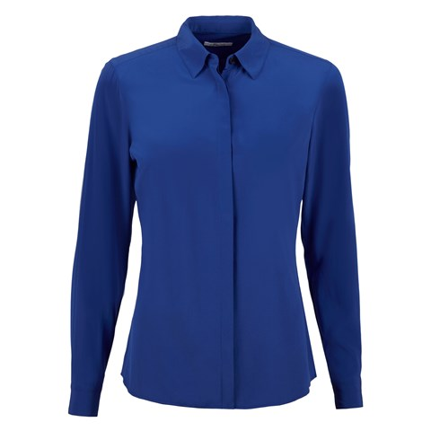 Blue Feminine Silk Shirt